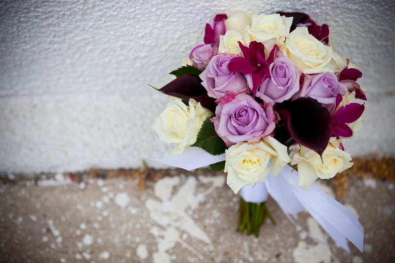 Lavender roses, white roses  burgundy calla ,purple orchids  $120