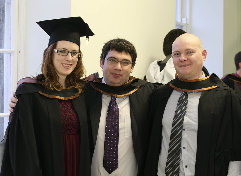 Pictured are Ruth Howley, Portlaw, Waterford, Michael Kennedy, Waterford, Paul Minogue, Clonmel who graduated Bachelor of Science (Hons) in Physics in Computing. photo Patrick browne
