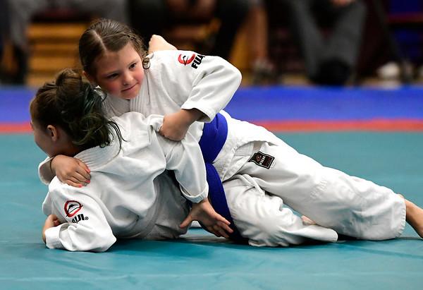 7/21/2018 Mike Orazzi | Staff Josephina Fox and Mackenzie Dunn during the Nutmeg Games Judo held at New Britain High School Saturday morning.