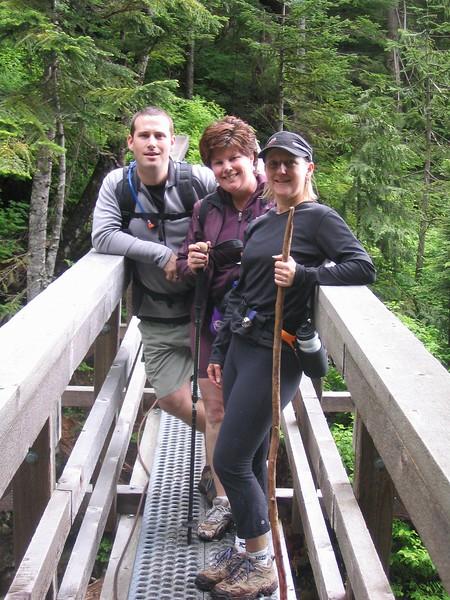 Scott, Linda & Mel hiking outside Lion's Bay