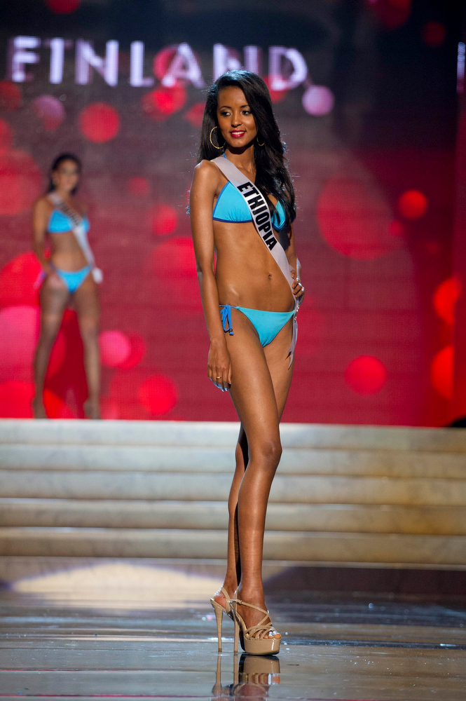 Description of . Miss Ethiopia 2012 Helen Getachew competes during the Swimsuit Competition of the 2012 Miss Universe Presentation Show at PH Live in Las Vegas, Nevada December 13, 2012. The Miss Universe 2012 pageant will be held on December 19 at the Planet Hollywood Resort and Casino in Las Vegas. REUTERS/Darren Decker/Miss Universe Organization L.P/Handout