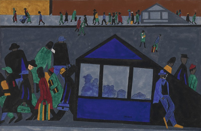 "Jacob Lawrence, ""In the evening the mother and father come home from work,"" (1943)"