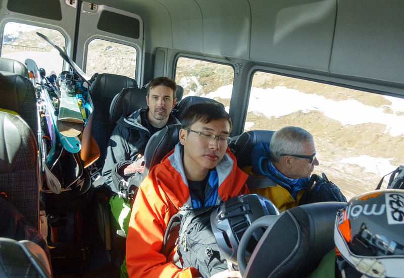 Tired, happy, and dirty on our way home from day 6 of skiing together.