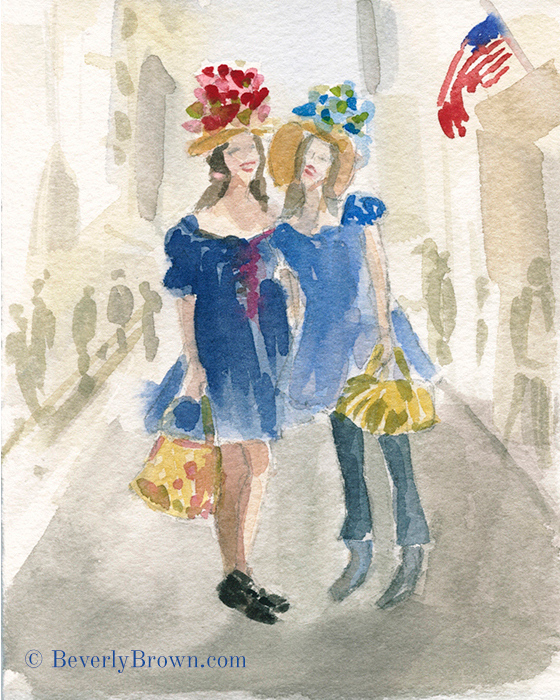Matching Floral Hats & Dresses - A whimsical watercolor sketch of New York's Easter Parade and Bonnet Festival by artist Beverly Brown. www.beverlybrown.com