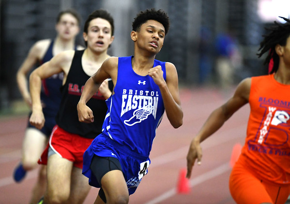 2/1/2020 Mike Orazzi | StaffrBristol Eastern's Dante Marciano in the 600 meter run during the CCC Indoor Track & Field Championships at the Floyd Little Athletic Center in New Haven on Saturday.