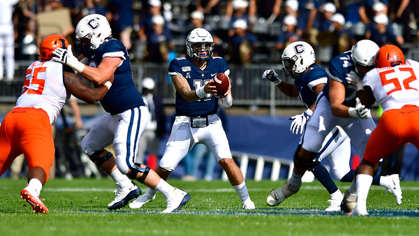 9/7/2019 Mike Orazzi | StaffrUConn's Jack Zergiotis (11) during Saturday's football game with the University of Illinois at Rentschler Field in East Hartford.