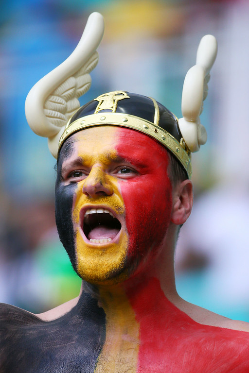. A Belgium fan cheers prior to the 2014 FIFA World Cup Brazil Round of 16 match between Belgium and the United States at Arena Fonte Nova on July 1, 2014 in Salvador, Brazil.  (Photo by Kevin C. Cox/Getty Images)