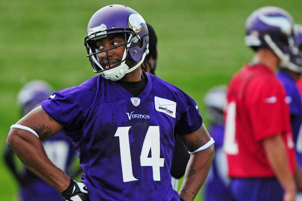 . Vikings wide receiver Joe Webb practices alongside the quarterbacks during the team\'s minicamp on Tuesday.  (Pioneer Press: Scott Takushi)