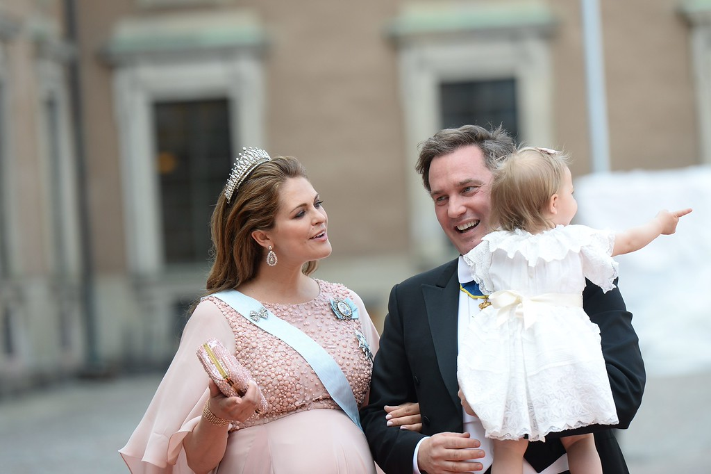 . Princess Madeleine, Princess Leonore and Chris OÂ¥Neill arrives to the Prince Carl Philip and Sofia Hellqvist during their wedding the Royal Chapel in Stockholm, Sweden, June 13, 2015.  (Fredrik Sandberg/TT News Agency via AP)