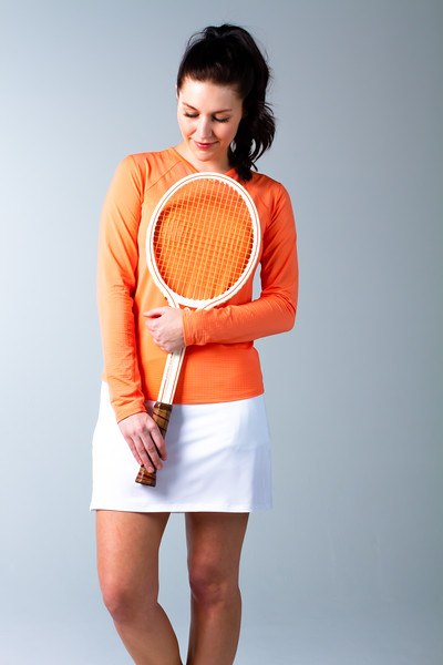 900603 SunGlow V-Neck Solid Tennis Top. Papaya Coral. SanSoleil (631).jpg