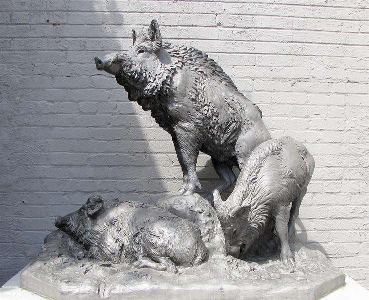 Wild Boars, Anna Hyatt Huntington (1876-1973), Aluminum, 1935 - Brookgreen Gardens, Murrells Inlet, SC  3-25-11