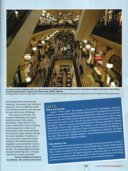 """Asian Photography  http://www.asianphotographyindia.com/  April 2009 Issue - Travel Feature Article - """"Sensational Sydney"""" article by Anu (Arundhathi) and pictures by Suchit Nanda. Asian Photography is India's premier and oldest photography magazine.  You can read the full article with full size images at:   http://suchit.net/photo/sydney_2009/"""