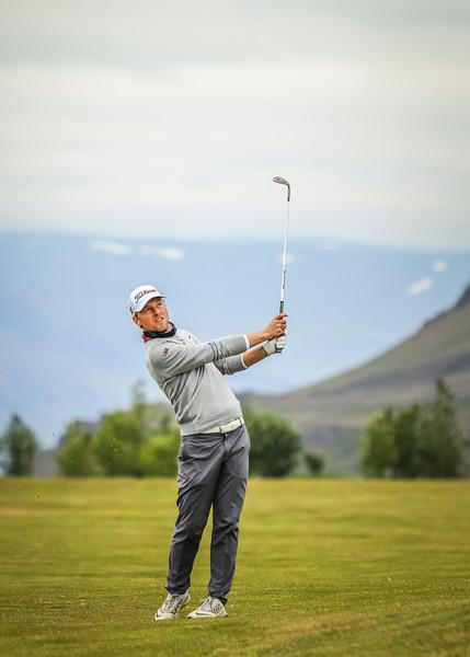 Rúnar Arnórsson, GK, við 12. flöt á Garðavelli. Mynd/seth@golf.is