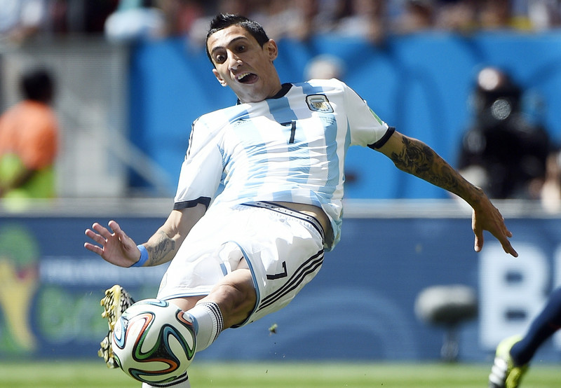 . Argentina\'s midfielder Angel Di Maria kicks the ball during a quarter-final football match between Argentina and Belgium at the Mane Garrincha National Stadium in Brasilia during the 2014 FIFA World Cup on July 5, 2014.   (MARTIN BUREAU/AFP/Getty Images)