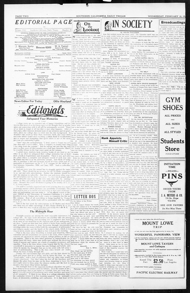 Daily Trojan, Vol. 16, No. 51, February 18, 1925