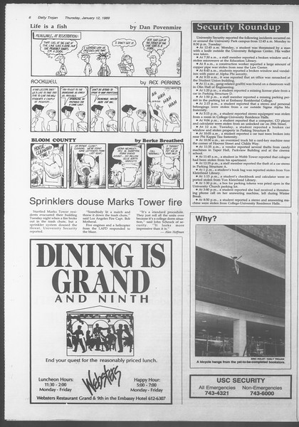 Daily Trojan, Vol. 108, No. 2, January 12, 1989