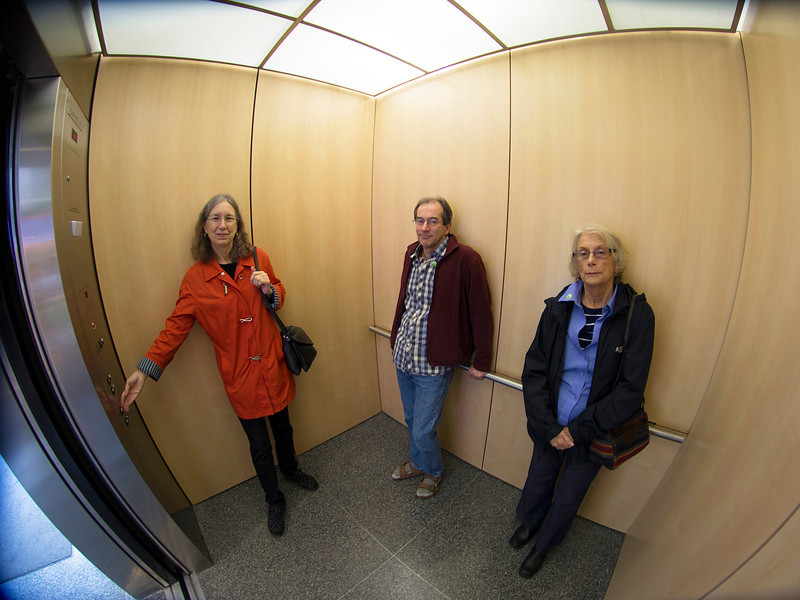 Margaret, Sean, and Carol in the Education Center elevator