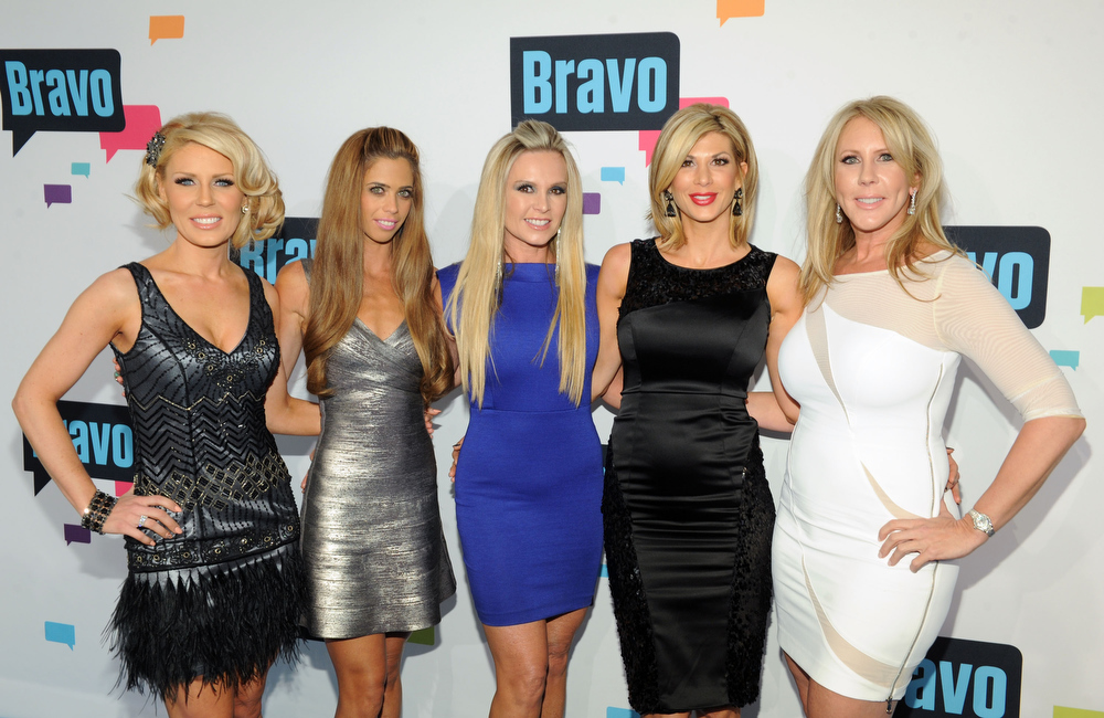 . Gretchen Rossi, Lydia McLaughlin, Tamra Barney, Alexis Bellino, and Vicki Gunvalson of \'The Real Housewives of Orange County\' attend the 2013 Bravo New York Upfront at Pillars 37 Studios on April 3, 2013 in New York City.  (Photo by Craig Barritt/Getty Images)