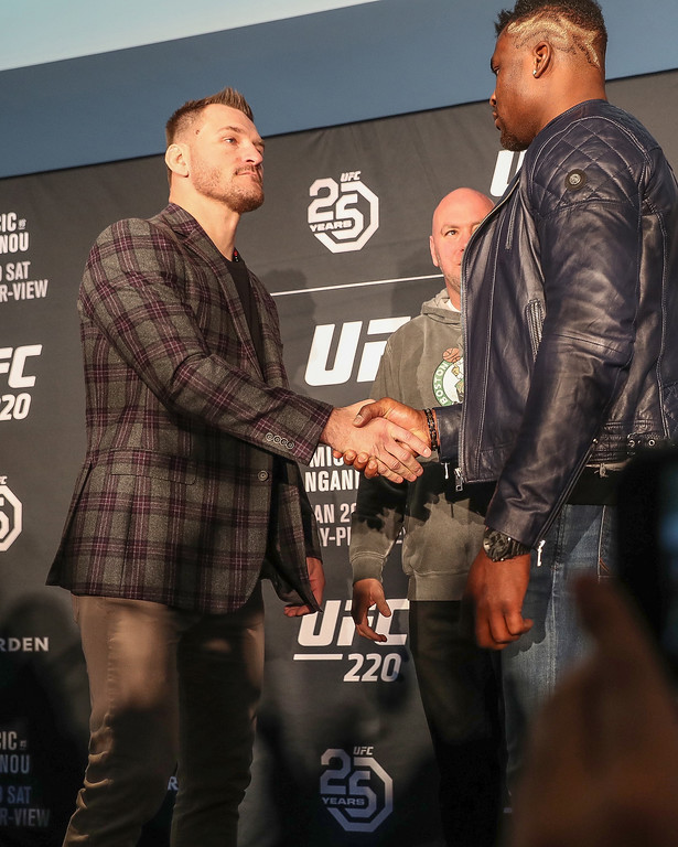 . Media day for UFC 220, Stipe Miocic vs. Francis Ngannou, at Fenway Park in Boston on Jan. 18, 2018. (Tim Phillis - The News-Herald)
