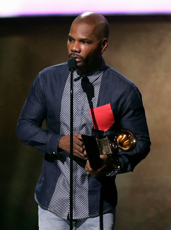 ". Kirk Franklin accepts the award for best gospel album for ""Losing My Religion\"" at the 59th annual Grammy Awards on Sunday, Feb. 12, 2017, in Los Angeles. (Photo by Matt Sayles/Invision/AP)"