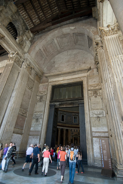 Tourists entering the Pantheon in Rome, Italy