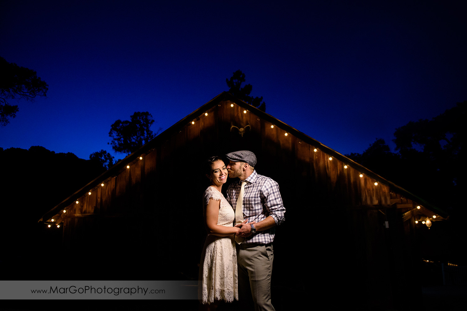 night portrait of bride and groom at Picchetti Winery in Cupertino