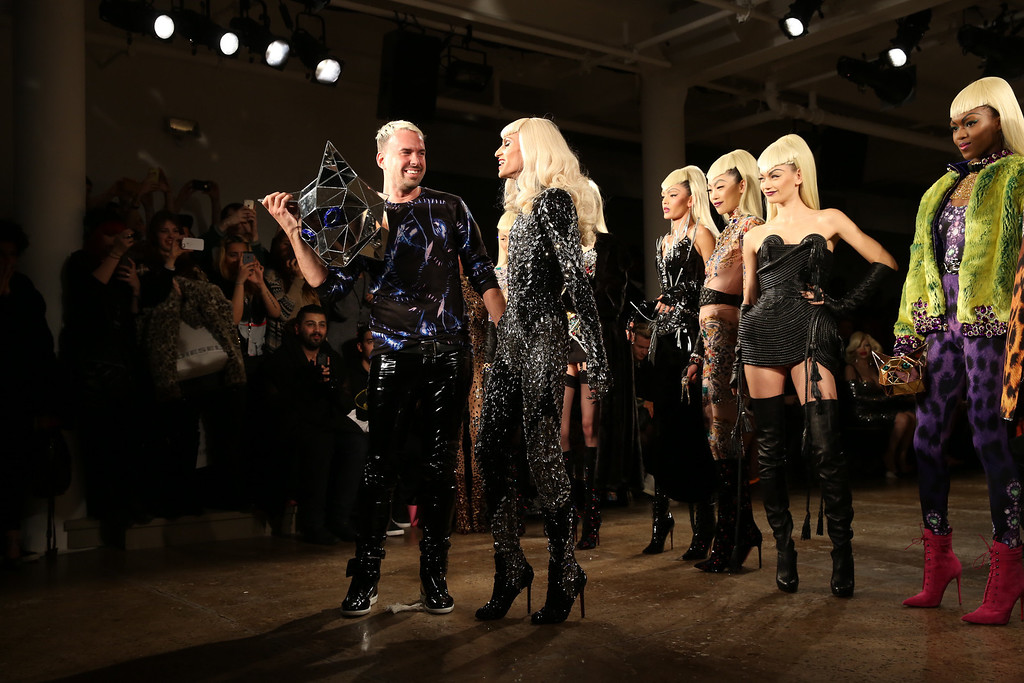 . David Blond (L) and Phillipe Blond attend the The Blonds fashion show during MADE Fashion Week Fall 2014 at Milk Studios on February 12, 2014 in New York City.  (Photo by Chelsea Lauren/Getty Images)