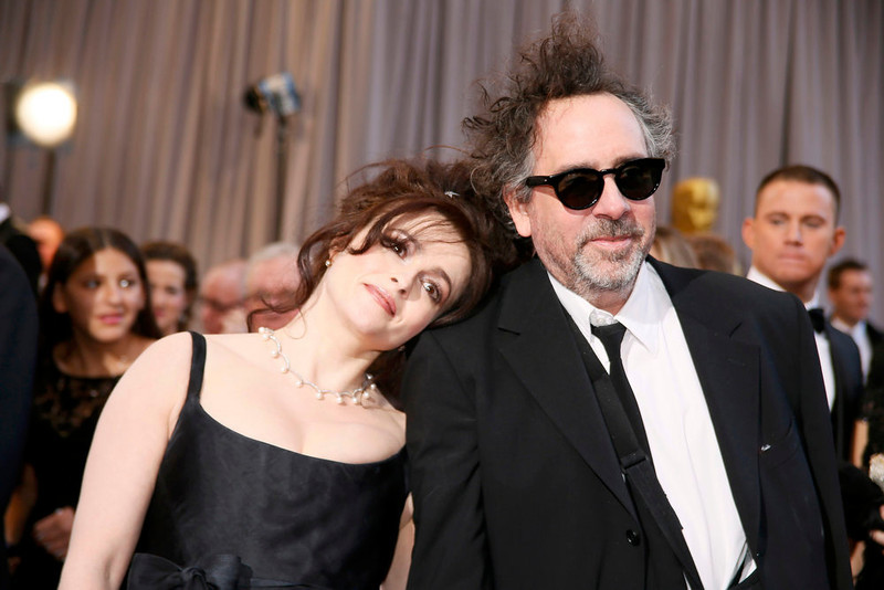 """. British actress Helena Bonham Carter (L) rests her head on the shoulder of her partner director Tim Burton, nominee for Director of Best Animated Feature film  \""""Frankenweenie,\"""" at the 85th Academy Awards in Hollywood, California February 24, 2013.  REUTERS/Lucy Nicholson"""