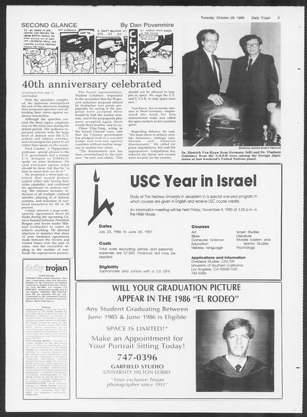 Daily Trojan, Vol. 100, No. 41, October 29, 1985