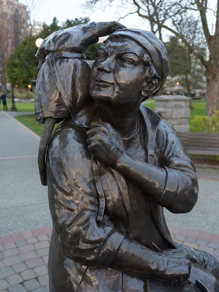 Close-up of a statue of Emily Carr, Victoria, British Columbia, Canada