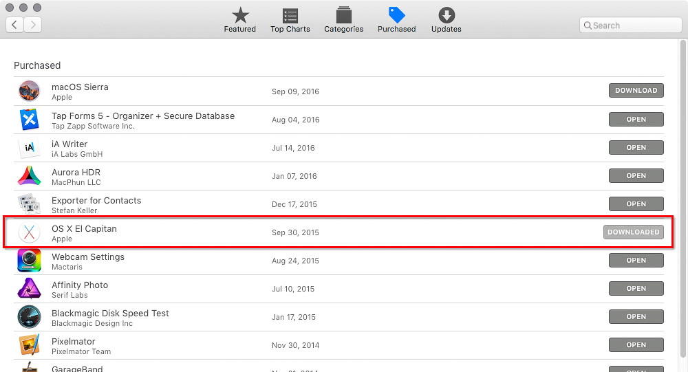 Earlier OS X versions in Purchases list in Mac App Store.
