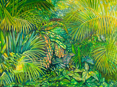 """©John Rachell  Title: The Garden, December 29, 2006 Image Size: 48"""" w by 36"""" d Dated: 2006 Medium and Support: Oil Paint on Canvas Signed: LL Signature"""