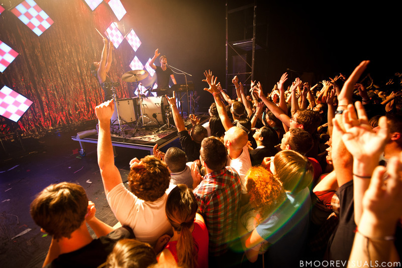 Kim Schifino and Matt Johnson of Matt & Kim perform during their sold-out show on October 15, 2010 at State Theatre in St. Petersburg, Florida.