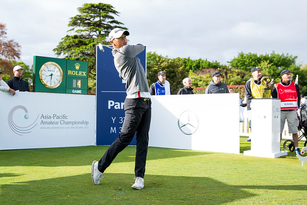 Wang Wei-Hsuan from Taiwan hitting off the 1st tee on Day 1 of competition in the Asia-Pacific Amateur Championship tournament 2017 held at Royal Wellington Golf Club, in Heretaunga, Upper Hutt, New Zealand from 26 - 29 October 2017. Copyright John Mathews 2017.   www.megasportmedia.co.nz