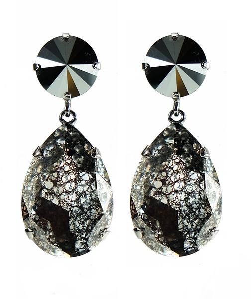 Perfect Drop Earrings / Hematite + Black Patina