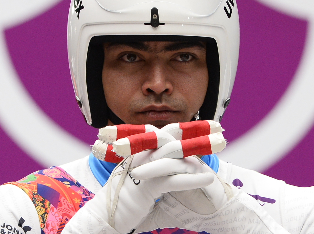 . Independent Olympic Participant Shiva Keshavan competes during the Men\'s Luge Singles run two at the Sliding Center Sanki during the Sochi Winter Olympics on February 8, 2014.  (LIONEL BONAVENTURE/AFP/Getty Images)