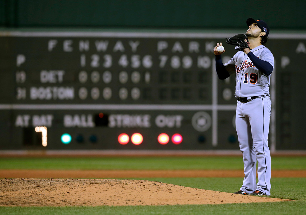 . Detroit Tigers starting pitcher Anibal Sanchez pauses between pitches against the Boston Red Sox in the sixth inning during Game 1 of the American League baseball championship series Saturday, Oct. 12, 2013, in Boston. (AP Photo/Charles Krupa)