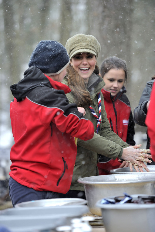 . Catherine, Duchess of Cambridge, visits Great Tower Scout camp on March 22, 2013 in Windermere, Cumbria, United Kingdom. The Duchess of Cambridge attended a scout volunteer training day today in Newby Bridge in Cumbria. The training course is being run in Great Tower, one of the Scout Association\'s national activity centers set in 250 acres of land offering a wide range of land and water based activities, including archery, low and high ropes, climbing, abseiling, sailing and canoeing.  (Photo by Andy Stenning WPA - Pool/Getty Images)
