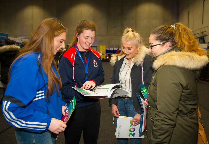 21/01/2017.  Waterford Institute of Technology (WIT) open day at WIT Arena. Pictured are Sorcha Cantwell,  Roisin O'Donnell WIT Student Ambassador, Aisling Bryne and Ciara Ryan all from Tipperary,. Picture: Patrick Browne