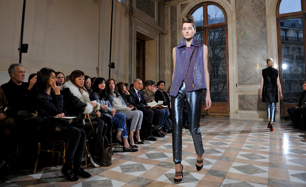 . A model wears a creation for Bouchra Jarrar\'s Spring-Summer 2014 Haute Couture fashion collection presented in Paris, Tuesday, Jan.21, 2014. (AP Photo/Zacharie Scheurer)