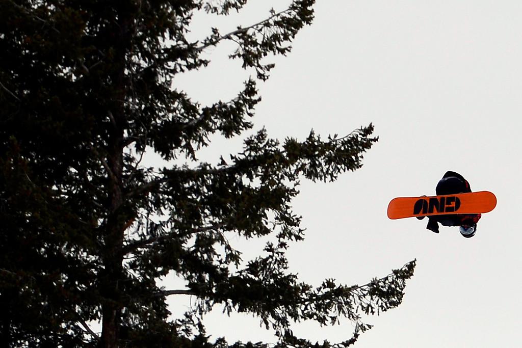. ASPEN, CO. - JANUARY 24: Ulrik Badertscher during the men\'s Snowboard Slopestyle elimination. Men\'s Snowboard Slopestyle elimination X Games Aspen Buttermilk Mountain Aspen January 24, 2013. (Photo By AAron Ontiveroz / The Denver Post)