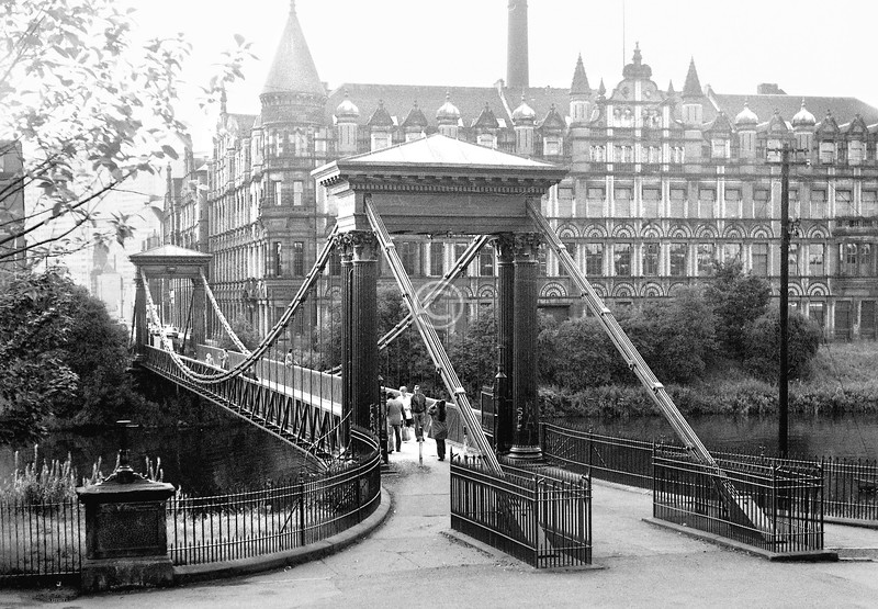 St Andrew's suspension bridge, with the colossal United Co-operative Baking Society building in McNeil St / Adelphi St.  