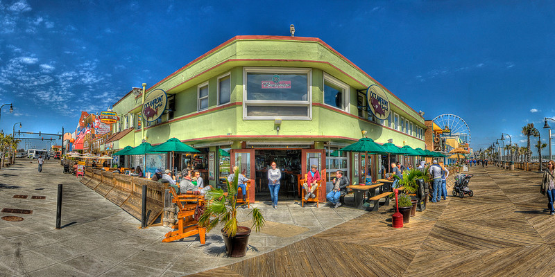 Panorama of Oceanfront Bar & Grill on the Boardwalk in Myrtle Beach, SC on Sunday, March 11, 2012. Copyright 2012 Jason Barnette