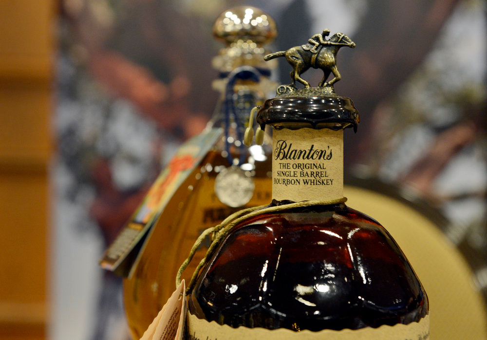 . A bottle of Blanton\'s bourbon whiskey is displayed by Jelinek Cork Group during the American Distilling Institute\'s 10th Annual Craft Spirits Conference & Vendors Expo at the downtown Sheraton in Denver, CO April 02, 2013. DSTILL  expects more than 900 visitors during the weeklong celebration, making it the country�s largest rally of independent distillers.   (Photo By Craig F. Walker/The Denver Post)