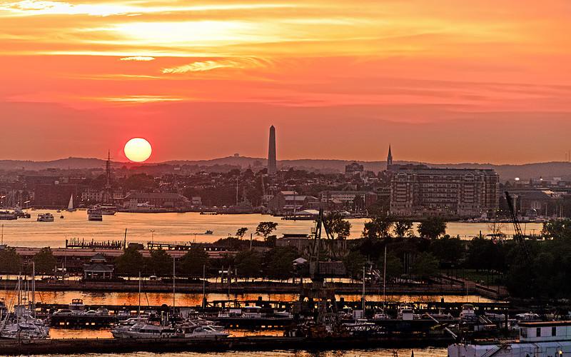 Sunset over Boston Harbor