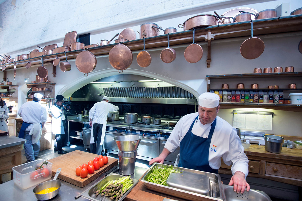 . In this photo taken on Thursday May 10, 2018, chefs work in the royal kitchen, as preparations are underway for the reception banquet after the wedding of Prince Harry and Meghan Markle on Saturday, May 19, in Windsor Castle, England. (David Parker/Pool Photo via AP)