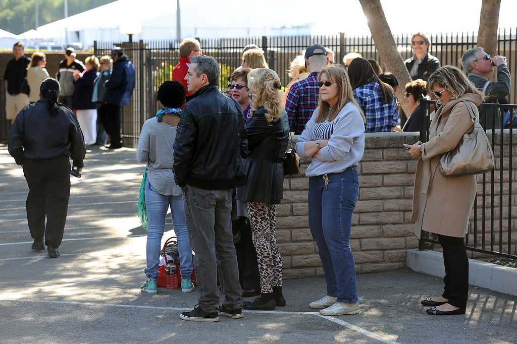 . Fans wait in line in hopes of seeing the taping of The Tonight Show with Jay Leno in Burbank, Ca February 5, 2014.(Andy Holzman/Los Angeles Daily News)