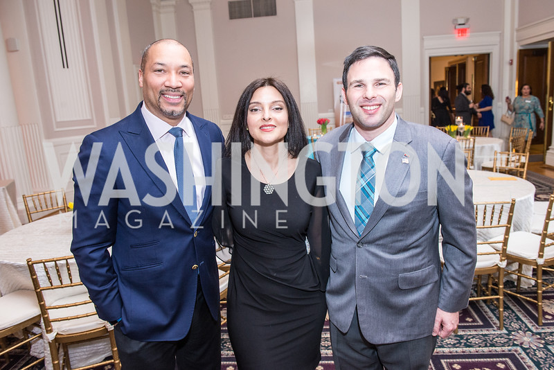 Montez Anderson, Laleh Jalali Ghafouri, Dan Helmer, Iranian-American Nowruz Reception, Washington, DC, Carnegie Institute of Science, March 15, 2018.  Photo by Ben Droz.