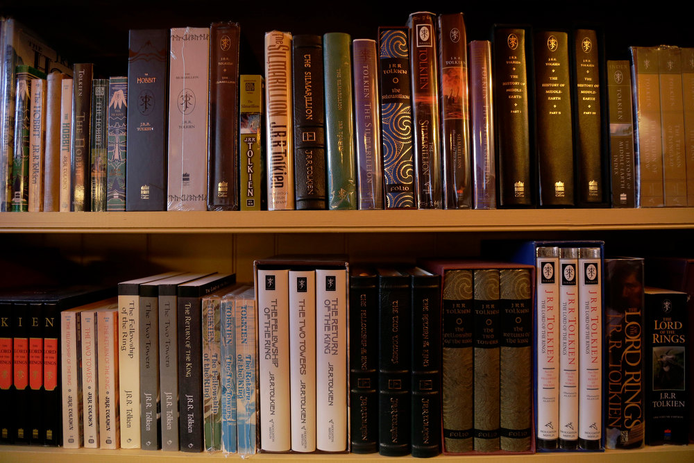 Description of . Shown is a collection of J.R.R. Tolkien books at the ìHobbit Houseî Tuesday, Dec. 11, 2012, in Chester County, near Philadelphia. Architect Peter Archer has designed a ìHobbit Houseî containing a world-class collection of J.R.R. Tolkien manuscripts and memorabilia. (AP Photo/Matt Rourke)