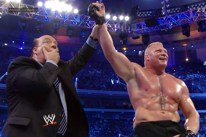 """. <p>7. WRESTLEMANIA 30 <p>Brock Lesnar has always been better at the scripted sports than the non-scripted. (4) <p><b><a href=\'http://msn.foxsports.com/buzzer/story/wrestlemania-30-recap-brock-lesnar-ends-undertaker-winning-streak-21-matches-daniel-bryan-wwe-champ-040614\' target=\""""_blank\""""> HUH?</a></b> <p>   (Photo from YouTube)"""